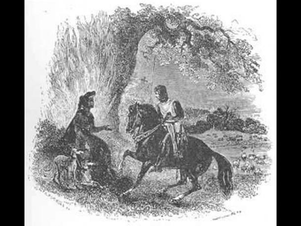 Peredur Son of Evrawg' showing the half flaming, half alive tree, unknown artist.