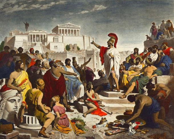 Politician Pericles praises Athens's willingness to help others in his funeral oration. (Pericles' Funeral Oration by Philipp Foltz, 1852,