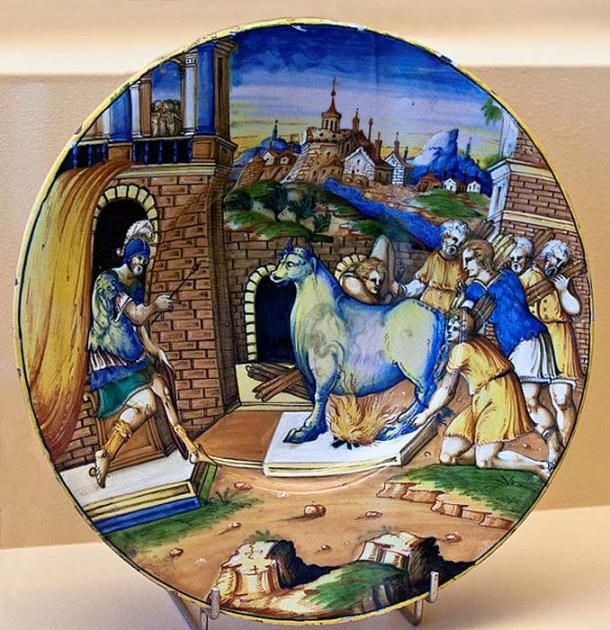 Plate decoration depicting Phalaris burning Perilaus in a brazen bull, 1550-1570