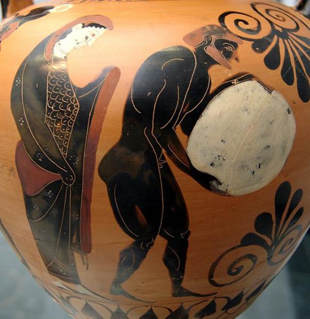 Persephone supervising Sisyphus in the Underworld, Attic black-figure amphora, c. 530 BC.