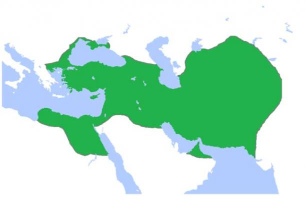 The extent of the Persian Empire shifted over time. This a map of the Achaemenid Empire, showing its greatest extent.