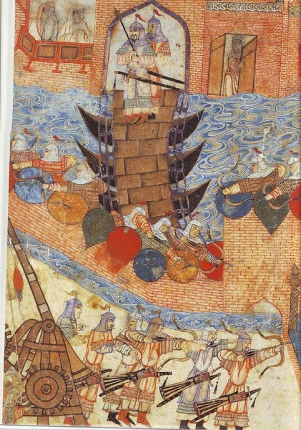 Persian painting (14th century) of Hulegu's army besieging a city. Note use of the siege engine.