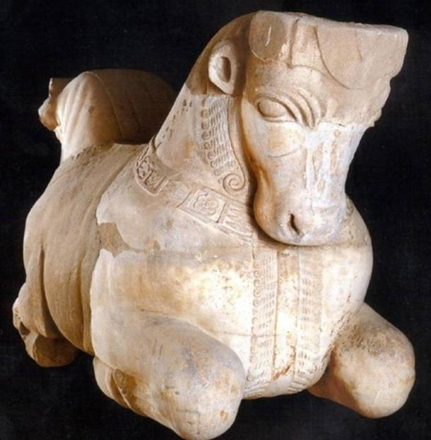 Persian style bull protome found in Eshmun sanctuary near Sidon gives testimony of the Aecheminid rule and influence. Marble