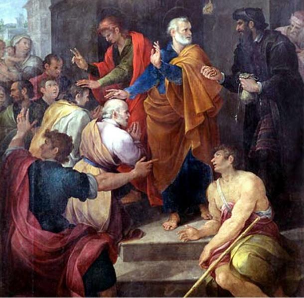 Peter's conflict with Simon Magus by Avanzino Nucci, 1620. Simon is on the right, dressed in black.1619.