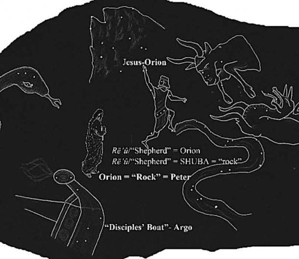 """Peter's name, Petros/""""Rock"""", was enciphered in the cuneiform title of the Sea-Walker constellation, Orion. (sketch: Ashley McCurdy)"""