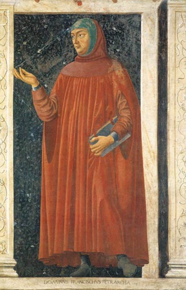 "Petrarch, who conceived the idea of a European ""Dark Age"". From Cycle of Famous Men and Women, Andrea di Bartolo di Bargilla, c. 1450."