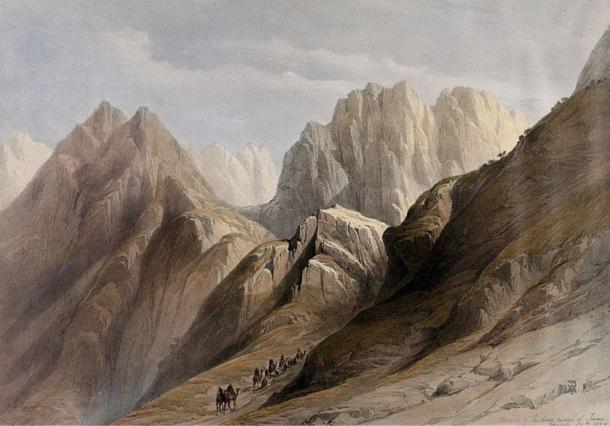 Petrie discovered a large quantity of pure white powder in a temple on top of Mount Sinai. 'Ascent of the lower ranges of Mount Sinai'. Coloured lithograph by Louis Haghe after David Roberts, 1849.