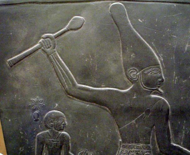 Early Dynastic usage of the White crown as seen in a detail of the Narmer Palette of Pharaoh Narmer.