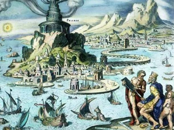 Pharos of Alexandria: Idealized representation of the Bay of Alexandria.