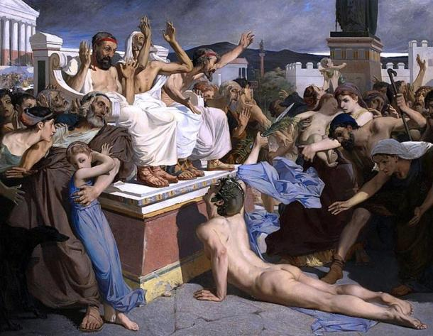 Luc-Olivier Merson's painting of runner Pheidippides giving word of victory after the Battle of Marathon