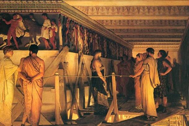 Phidias showing the frieze of the Parthenon to Pericles and friends