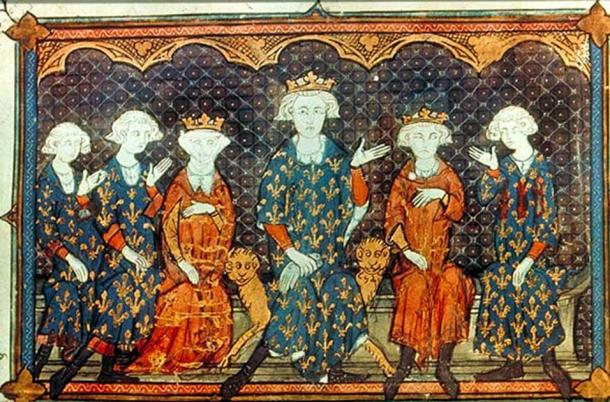 Philip IV of France and his family: l-r: his sons, Charles IV of France and Philip V of France, his daughter Isabella of France (wife of Edward II of England), himself, his eldest son and heir the King of Navarre, Louis X of France, and his brother, Charles of Valois. (Michaelsanders / Public Domain)