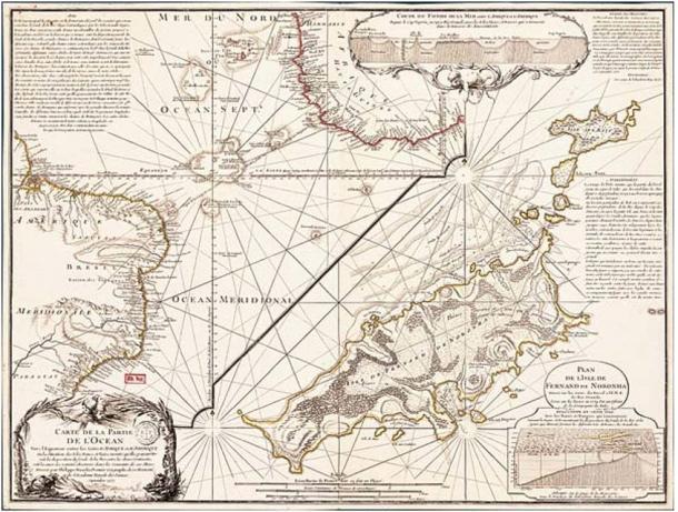 Philippe Buache, Carte d'une partie de l'Océan vers l'Équateur entre les costes d'Afrique et d'Amérique... Paris, 1737. Map engraved on copper (63,5 x 48,3 cm)