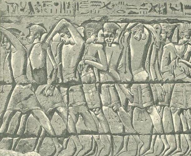 Philistine captives, Medinet-Habu tomb, Egypt