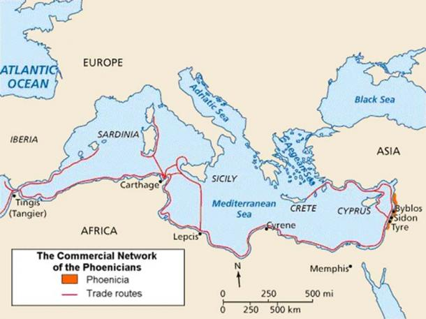 Map of Phoenicia and its Mediterranean trade routes.