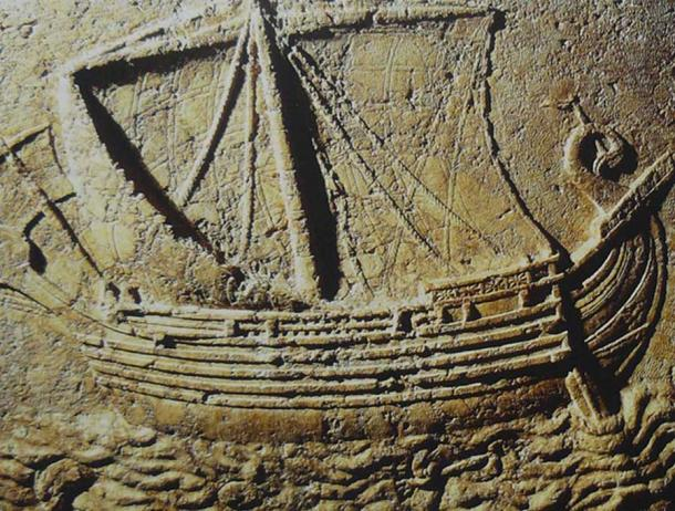 Phoenician ship carved on the face of a sarcophagus. 2nd century AD (Elie Plus/ CC BY-SA 3.0)
