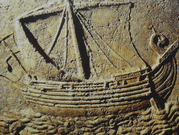Phoenician ship Carved on the face of a sarcophagus.