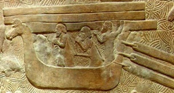 Phoenician ship (hippos). Relief from the palace of Sargon II at Dur-Sharrukin (now Khorsabad). Louvre. (Public Domain)