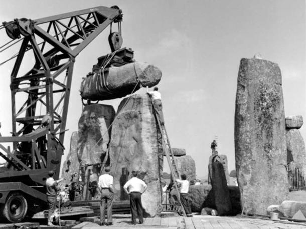 Photo of the work that took place in 1958 when the core was removed. (Image: English Heritage)