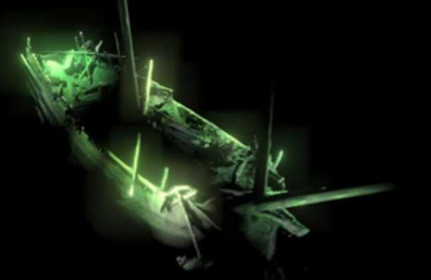 Photogrammetric model of the shipwreck, the ship's bow showing the anchor still in place. (MMT / University of Southampton)
