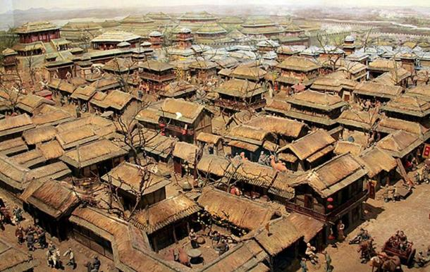 Photograph of a model of the ancient city of Linzi in the Museum of the Qi State.