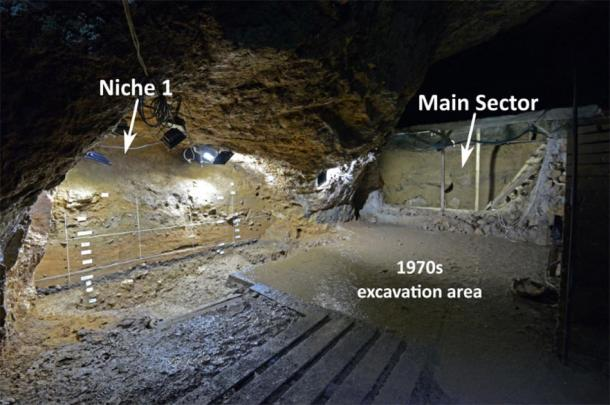 Photograph of Bacho Kiro Cave excavations in 2019. View of the Niche 1 (left) and Main Sector (right), looking toward the south in the cave. The concrete floor in the center covers the 1970s excavation area. (Fewlass et al. 2020) This site has provided the earliest direct dates for modern humans in Europe.