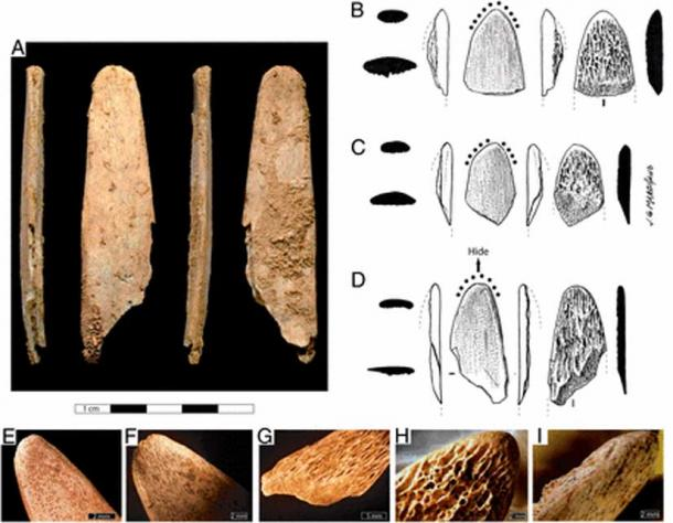 Photographs and drawings of the Abri Peyrony (AP) and Pech-de-l'Azé I (PA I) bone tools