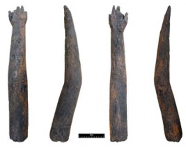 Photographs of the four sides of the wooden arm represented in a single image. (Oxford Archaeology © Michael Bamforth / Fair Use)