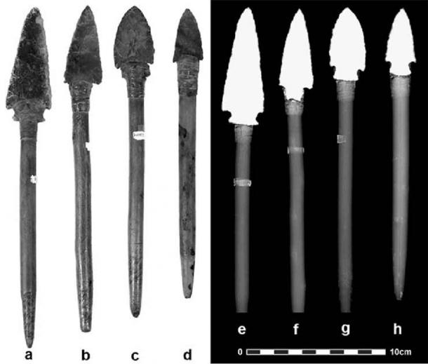 Photographs and radiographs of atlatl dart foreshafts and points. (Research Gate)