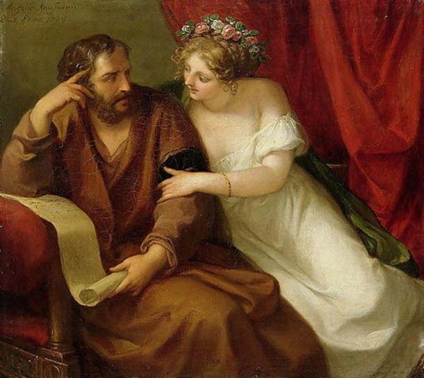 'Phryne seduces Xenocrates. (1794) By Angelica Kauffman.