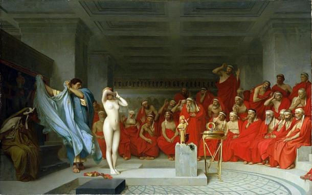 A depiction of Phryne, another hetaera (courtesan) of Ancient Greece, being disrobed before the Areopagus. (Public Domain)
