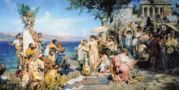 Phryne at the Poseidonia in Eleusis, where an Eleusinian mystery school sanctuary can be found. (Henryk Siemiradzki / Public domain)