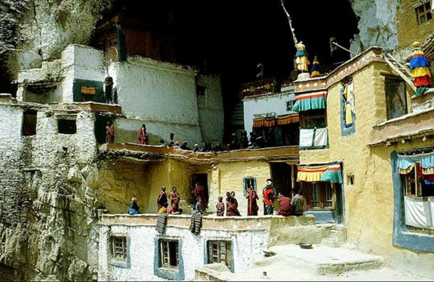 The Phugtal Monastery was built inside a cave
