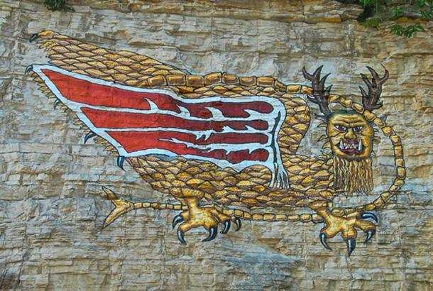 """A modern reproduction of the """"Piasa Bird"""", on the bluffs of the Mississippi River in Alton. Wings were not described in Marquette's 1673. (Burfalcy/CC BY SA 3.0)"""