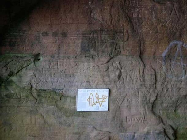 Pictish carvings in Sculptor's Cave.