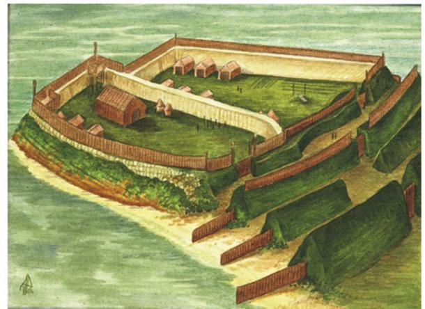 The Pictish fort at Burghead, circa 6th Century AD. Reconstruction of the largest Pictish fort known