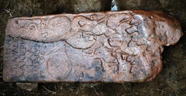 The Pictish stone found in Dingwall was reused as a horizonal grave slab in the 1790s - hence the inscription in the corner. Source: NOSAS