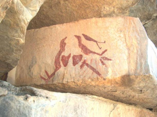 Pictograph of Spring sky shows movement of star groups & predicts spring equinox, near Paint Rock.