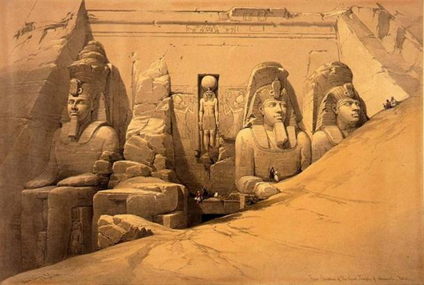 Picture of a print from David Roberts' Egypt & Nubia, issued between 1845 and 1849, showing the Great Hall of Abu Simbel buried in sand