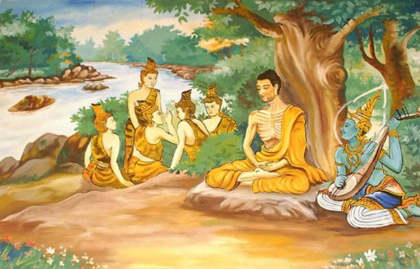 Picture of a wall painting in a Laotian temple, depicting the Bodhisattva Gautama (Buddha-to-be) undertaking extreme ascetic practices before his enlightenment. A god is overseeing his striving, and providing some spiritual protection. The five monks in the background are his future 'five first disciples', after Buddha attained Full Enlightenment.