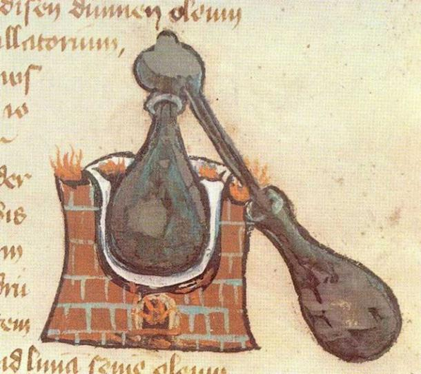 Picture of an alembic from a medieval manuscript.