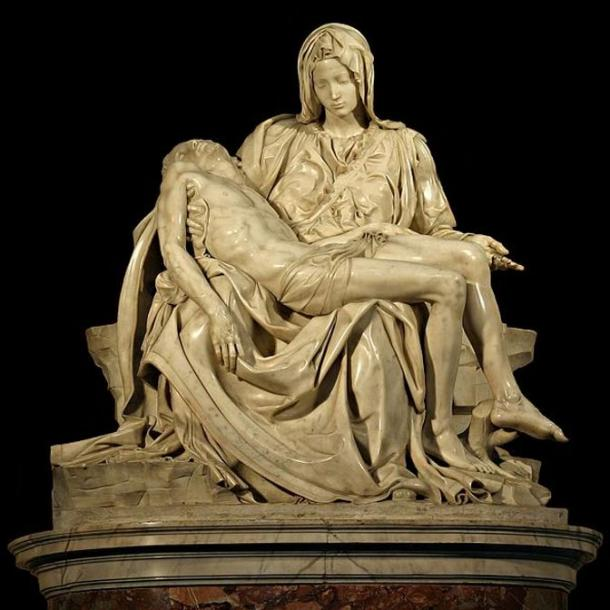 Cut out of Michelangelo's 'Pietà' sculpture. St. Peter's Basilica, the Vatican.