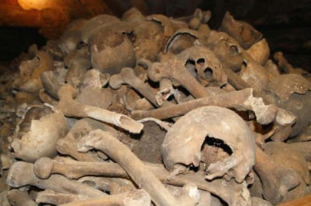 Piles of bones in the Rothwell charnel house.  (Image: Holy Trinity Church)
