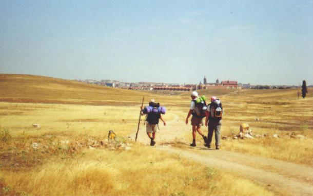 Today's travelers follow the same paths that have been taken by pilgrims for hundreds of years. Pilgrims arriving to Salamanca (Spain) by the 'Way of St. James'