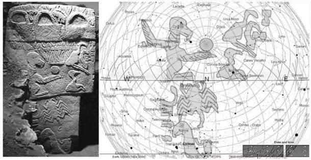 Göbekli Tepe's Pillar 43 on the left with the corresponding night sky for 9600 BC on the right. (Credit: Rodney Hale)