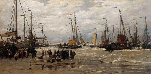 'Pinks in the Breakers' (1875-1885) by Hendrik Willem Mesdag. (Public Domain)