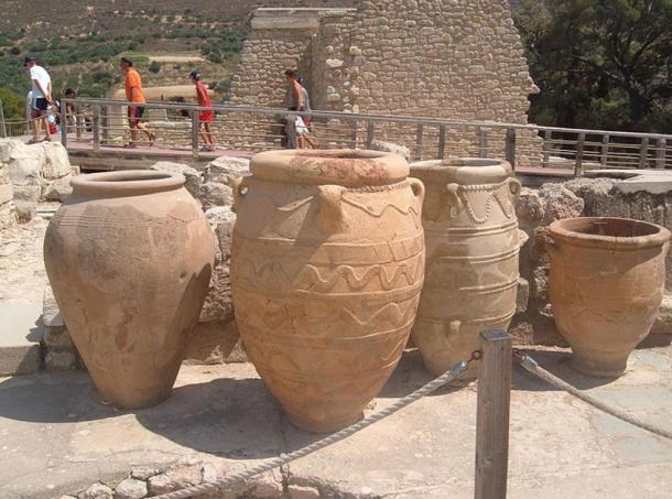 Pithoi used to hold wine, from Knossos