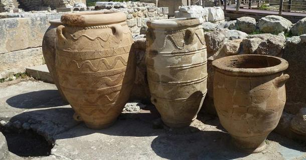 Pithoi (large storage containers) at Knossos, Crete.