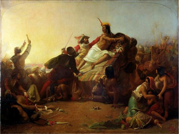 "Painting ""Pizarro Seizing the Inca of Peru"", by John Everett Millais, showing Pizarro in the act of capturing the king of the Inca Atahualpa."