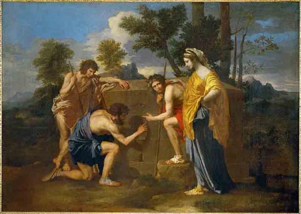 """Placard coopted the phrase """"Et in Arcadia Ego"""" which appears in the 1630s painting Archadian Shepherds for the Priory of Sion. (Public domain)"""